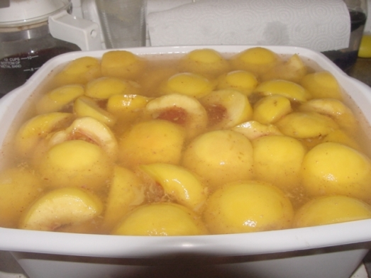 Drop peach halves in lemon juice-laced water to prevent browning